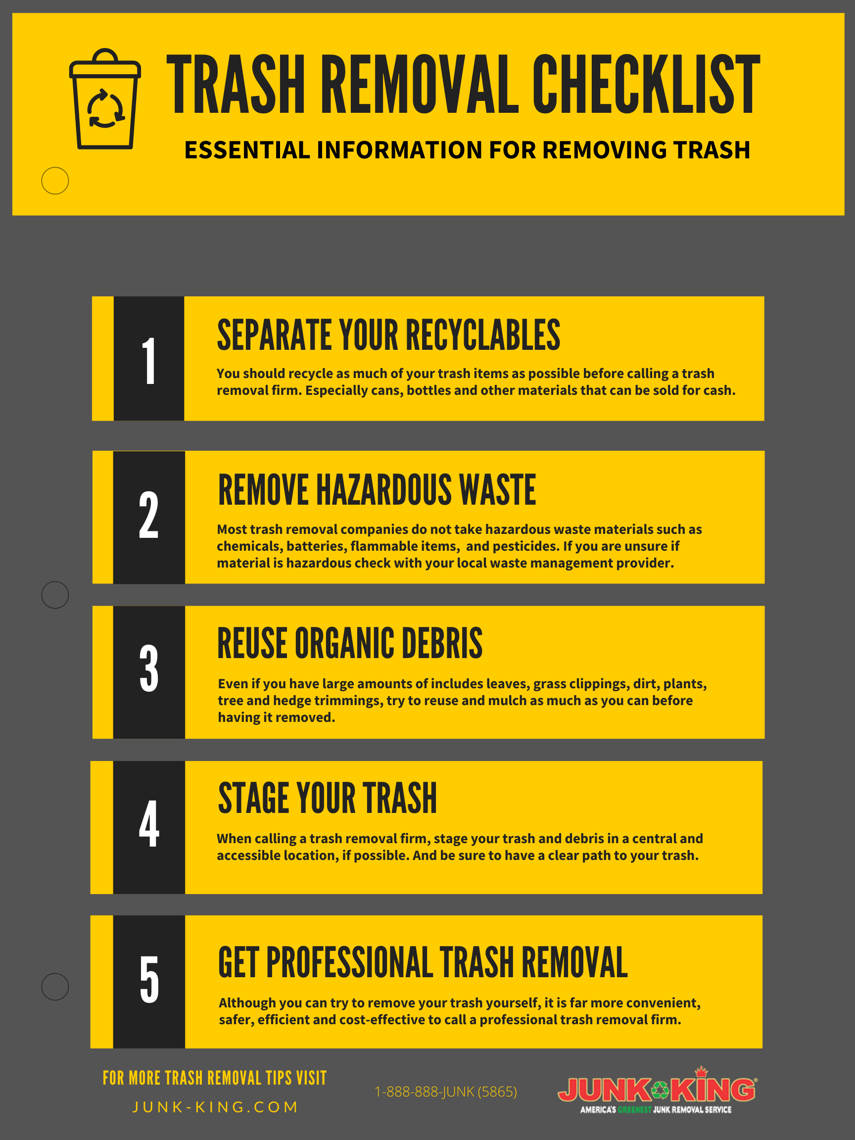 Trash Removal Checklist